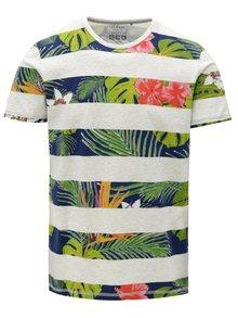 Svetlosivé pruhované pánske slim fit pruhované tričko s.Oliver
