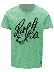 Zelené pánske regular fit melírované tričko s.Oliver