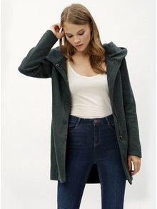Tmavozelený melírovaný kabát s kapucňou ONLY Sedona