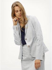 Modré pruhované ľanové dámske sako