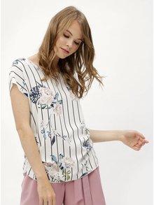 Bluza alba cu model floral si pliuri laterale Haily´s Julie