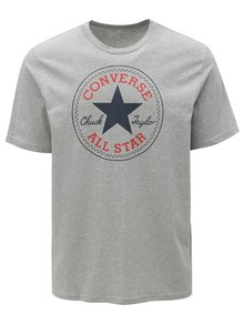 Tricou barbatesc gri melanj cu print Converse Core Chuck