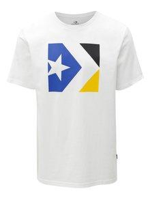 Biele pánske tričko s potlačou Converse Chevron Tri Color