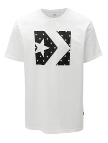 Čierno-biele pánske tričko s potlačou Converse Star Fill Chevron