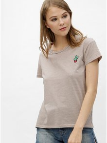 Světle růžové pruhované tričko s výšivkou Haily´s Stella