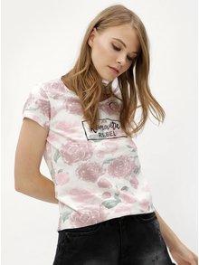 Tricou roz-alb cu model floral si print Haily´s Tilda