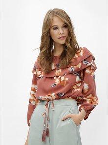 Tehlový kvetovaný crop top s odhalenými ramenami Haily´s Enni