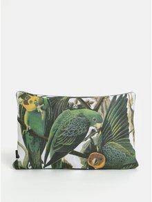 Bílo-zelený polštář s motivem papoušků Magpie