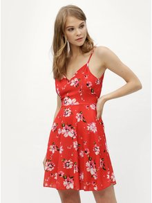 Rochie rosie cu model floral si snur in talie Haily´s Amelia