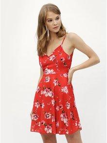 Červené kvetované šaty so zaväzovaním Haily´s Amelia