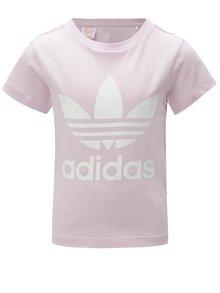 Svetlofialové dievčenské tričko s potlačou adidas Originals Trefoil