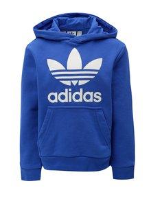 Modrá dětská mikina s kapucí a klokaní kapsou adidas Originals Trefoil