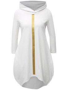 Biele balónové šaty s potlačou a kapucňou Mikela da Luka