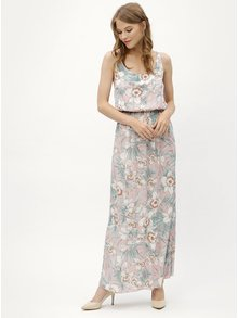 Rochie maxi roz cu model floral si bretele Haily´s Doris