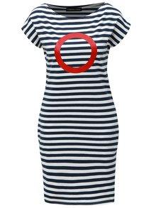 Modro-bílé pruhované šaty s červeným potiskem Mikela da Luka