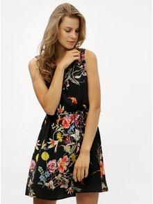 Černé květované šaty s krajkou na zádech ONLY Juliet