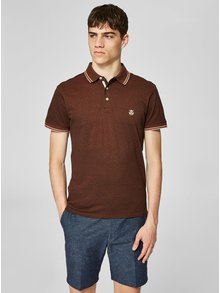 Tricou polo maro inchis melanj Selected Homme Twist