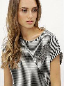 Tricou negru-alb in dungi cu aplicatie din margele Dorothy Perkins