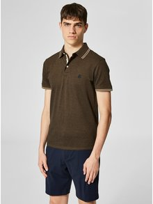 Tricou polo maro melanj Selected Homme Twist