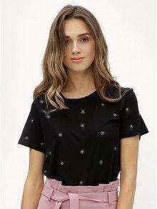 Tricou negru cu aplicatii din pietre Dorothy Perkins
