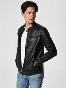 Čierna kožená bunda Selected Homme Jack