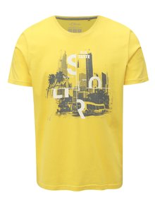 Žlté pánske regular fit tričko s potlačou s.Oliver