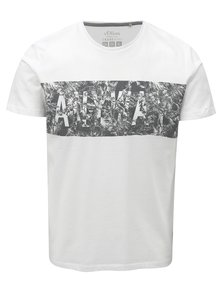 Bílé pánské slim fit tričko s potiskem s.Oliver