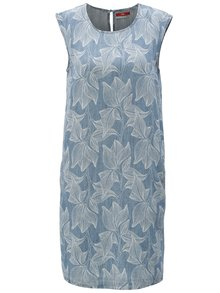 Modré vzorované šaty s prímesou ľanu s.Oliver