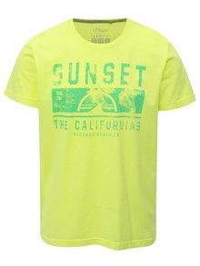 Neonově žluté pánské regular fit tričko s potiskem s.Oliver