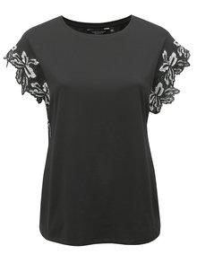 Čierne tričko s čipkou na rukávoch Dorothy Perkins Curve