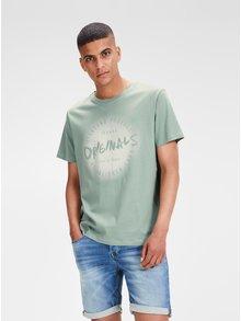 Svetlozelené tričko s potlačou Jack & Jones Reji