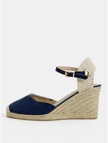 Sandale bej-albastru cu platforma wedge Dorothy Perkins