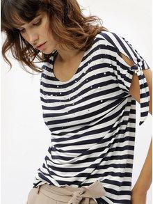 Bielo-modré pruhované tričko so zaväzovaním na rukávoch M&Co
