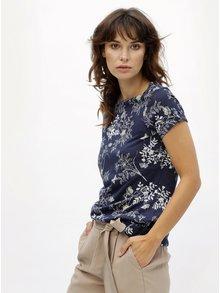 Tricou albastru inchis cu model floral M&Co