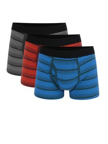 Set de 3 boxeri in dungi negri, albastri si oranj Burton Menswear London
