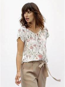 Biele kvetované tričko s flitrami M&Co