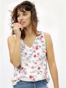 Biely kvetovaný top s pásikmi na chrbte M&Co