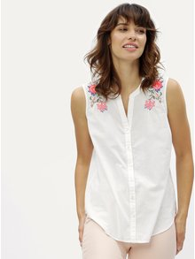 Biela blúzka bez rukávov s kvetovanou výšivkou M&Co