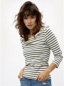 Čierno-krémové pruhované tričko s 3/4 rukávmi M&Co