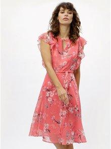 Rochie corai cu model floral si volane M&Co