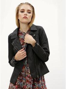 Jacheta neagra din piele sintetica ONLY Saga