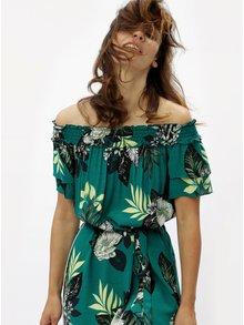 Zelené kvetované šaty s odhalenými ramenami Dorothy Perkins