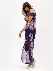 Rochie maxi albastra cu model floral si bretele Scarlett B