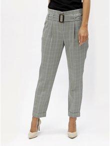 Pantaloni gri in carouri cu talie inalta Dorothy Perkins