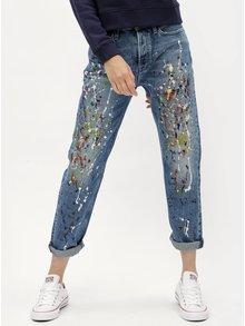 Modré dámske straight rifle s vysokým pásom Calvin Klein Jeans