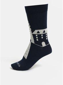 Tmavomodré unisex ponožky so slovenskými dominantami Fusakle Michalská veža