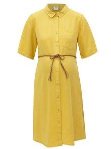 Rochie camasa mustar cu buzunar pentru femei insarcinate Mama.licious