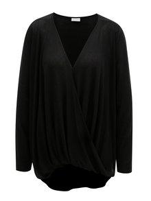 Čierne oversize tričko s prekladanou prednou časťou VILA Nexa