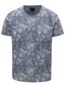 Tricou albastru cu print floral Burton Menswear London