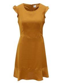 Horčicové šaty s volánmi VILA Vicause